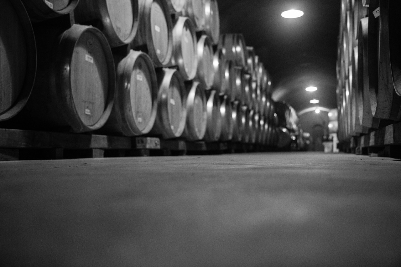 Picture of Napa wine cellars with aging wine in casks